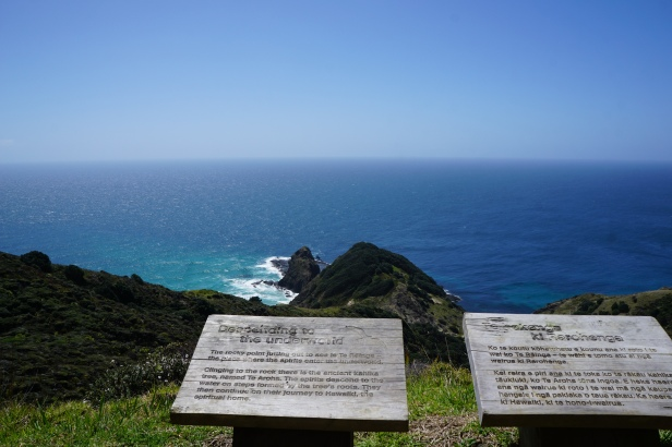A plaque describing the Cape as where souls begin their descent to the underworld