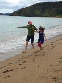 Skipping along the beach
