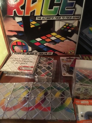 80s friends -remember the Rubik's rings? On the right, one of many puzzle display cases throughout the shop