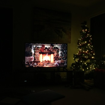 We tried with a TV Yule log...